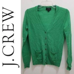 J. CREW Bling Button Green Cardigan